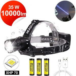 Čelovka Super Bright zoom LED Cree XHP70, 10000 lm, 3x3,7V 18650