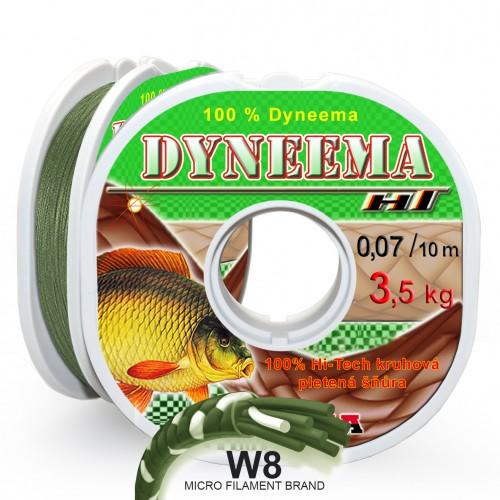 Pletená šňůra W8 HT Dyneema 0,07 mm 10 m, zelená