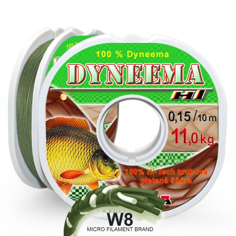 Pletená šňůra W8 HT Dyneema 0,15 mm 10 m, zelená